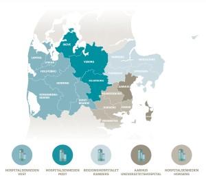 Kort over kommuner og hospitaler i Region Midtjylland
